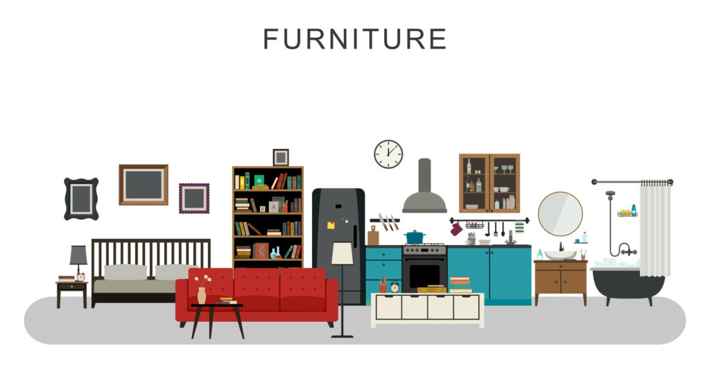 Furniture and home decoration with vector flat icons sofa, bookshelf, bed, bathroom, kitchen, etc.